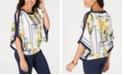 JM Collection Printed Cold-Shoulder Smocked-Hem Top, Created for Macy's