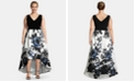XSCAPE Plus Size High-Low Printed-Skirt Gown