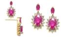 Macy's Ruby (1-3/8 ct. t.w.) & Diamond (1/5 ct. t.w.) Stud Earrings in 14k Gold