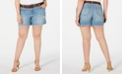 Style & Co Plus Size Distressed Belted Shorts, Created for Macy's