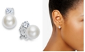 Lauren Ralph Lauren Silver-Tone Glass Pearl and Crystal Clip On Earrings