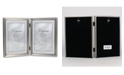 """Lawrence Frames Antique Pewter Hinged Double Picture Frame - Bead Border Design - 5"""" x 7"""""""