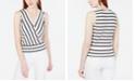 BCX Juniors' Striped Button-Trimmed Tank Top