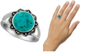 Macy's Reconstituted Turquoise & Marcasite Ring in Sterling Silver