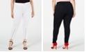 Hue Plus Size Extreme Zip Hem Denim Leggings, Created for Macy's