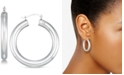 Signature Gold Diamond Accent Hoop Earring in 14k White Gold Over Resin, Crated for Macy's