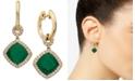EFFY Collection EFFY® Green Onyx (8mm) & Diamond (1/3 ct. t.w.) Drop Earrings in 14k Gold