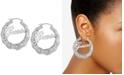 """GUESS Medium Logo Bamboo Hoop Earrings 2"""""""