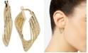 Italian Gold Geometric Twist Hoop Earrings in 14k Gold
