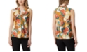 Tahari ASL Floral-Print Sailor-Neck Top