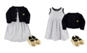 Hudson Baby Dress, Cardigan, Shoe Set, 3 Piece, Black Dot, 0-3 Months