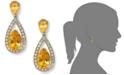 Macy's Sterling Silver Earrings, Citrine (5-1/10 ct. t.w.) and Diamond (1/5 ct. t.w.) Pear Drop Earrings