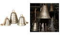 Sterling Nested Galvanized Metal Bells with Gold Accents and Twine Hanging Rope -Set of 3