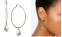 Macy's Cultured Freshwater Pearl (8 x 10mm) Dangle Hoop Earrings in 18k Gold-Plated Sterling