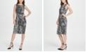 DKNY Animal Print Side Knot Jersey Sheath Dress