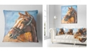 "Design Art Designart Brown Horse With Bridle Abstract Throw Pillow - 16"" X 16"""