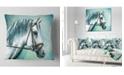 "Design Art Designart Gray Horse On Blue Background Animal Throw Pillow - 16"" X 16"""