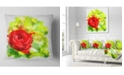 "Design Art Designart Bright Red Rose On Light Green Floral Throw Pillow - 16"" X 16"""