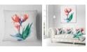 "Design Art Designart Red Hand Drawn Tulips Sketch Floral Throw Pillow - 18"" X 18"""