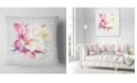 "Design Art Designart Pink Rose Watercolor Illustration Floral Throw Pillow - 16"" X 16"""