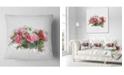 "Design Art Designart Bunch Of Pink Roses Watercolor Flower Throw Pillow - 16"" X 16"""