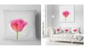 "Design Art Designart Bloomy Pink Tulip On White Drawing Flower Throw Pillow - 18"" X 18"""