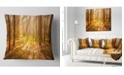 """Design Art Designart Bright Sunlight In Yellow Fall Forest Modern Forest Throw Pillow - 16"""" X 16"""""""