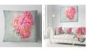 "Design Art Designart Pink Peony Flowers In White Vase Floral Throw Pillow - 18"" X 18"""