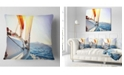 "Design Art Designart Sailboat Sailing In The Blue Sea Seashore Throw Pillow - 18"" X 18"""