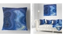 "Design Art Designart Blue Agate Stone Design Abstract Throw Pillow - 18"" X 18"""