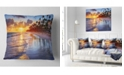 "Design Art Designart Beach Side Resort With Palm Trees Seashore Throw Pillow - 16"" X 16"""