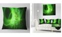 "Design Art Designart Bright Green Designs On Black Abstract Throw Pillow - 18"" X 18"""