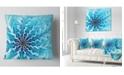 """Design Art Designart Light Blue Fractal Flower Pattern Abstract Throw Pillow - 16"""" X 16"""""""