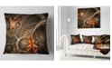 "Design Art Designart Dark Orange Symmetrical Flower Abstract Throw Pillow - 16"" X 16"""