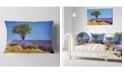 "Design Art Designart Lone Green Tree In Lavender Field Landscape Printed Throw Pillow - 12"" X 20"""