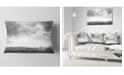 "Design Art Designart Rapeseed Garden In Black And White Landscape Printed Throw Pillow - 12"" X 20"""