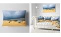 "Design Art Designart Beach With Dark Clouds Above Ocean Seashore Throw Pillow - 12"" X 20"""
