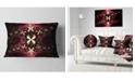 """Design Art Designart Yellow Red Fractal Flower Pattern Abstract Throw Pillow - 12"""" X 20"""""""