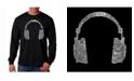 LA Pop Art Men's Word Art Long Sleeve T-Shirt- Headphones - 63 Genres of Music