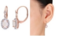 Macy's Opal (7/8 ct. t.w.), White Topaz (7/8ct. t.w.) and Diamond Accent Vintage Halo Earrings in 14k Rose Gold