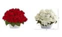 """Nearly Natural 34"""" Dogwood and Holly Berry Artificial Arrangement in Silver Vase"""