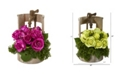 Nearly Natural Rose Artificial Arrangement in Faucet Planter