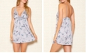 iCollection Elegant Satin Lace Hummingbird Print Chemise Nightgown