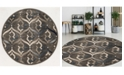 """KM Home CLOSEOUT! 3796/1014/BROWN Imperia Brown 5'3"""" x 5'3"""" Round Area Rug"""