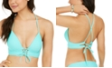 Hula Honey Juniors' Solid Lace-Up Push-Up Bikini Top, Available in D/DD, Created For Macy's