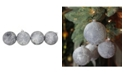 "Northlight 4ct Pewter Silver and White Antique Style Glass Ball Christmas Ornaments 4"" 100mm"
