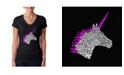 LA Pop Art Women's Word Art V-Neck T-Shirt - Unicorn
