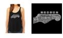 LA Pop Art Women's Premium Word Art Flowy Tank Top- Guitar Head