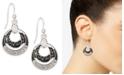Charter Club Silver-Tone Crystal Black Orbital Drop Earrings, Created for Macy's