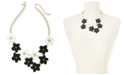 """INC International Concepts INC Gold-Tone Resin Flower Statement Necklace, 19"""" + 3"""" extender, Created For Macy's"""